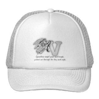 Letter V angel monogram alphabet initial Mesh Hats