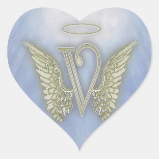 Letter V Angel Monogram Heart Sticker