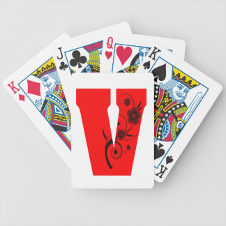 Letter V Flower Bicycle Playing Cards