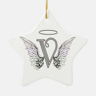 Letter V Initial Monogram with Angel Wings & Halo Ceramic Ornament