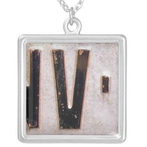 Letter V License Plate Vintage Necklace