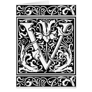 Letter V Medieval Monogram Vintage Initial Card
