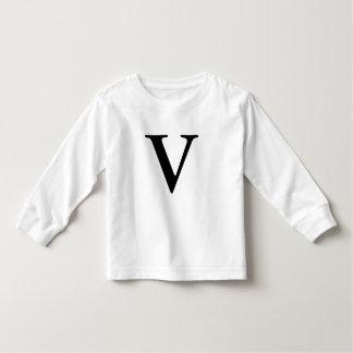 Letter V monogrammed black initial t shirt