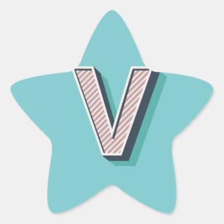 Letter V Star Sticker