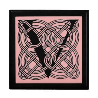 Letter V Vintage Celtic Knot Monogram Large Square Gift Box