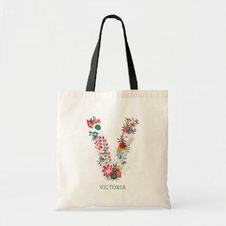 Letter V   Whimsical Floral Letter Monogram I Tote Bag