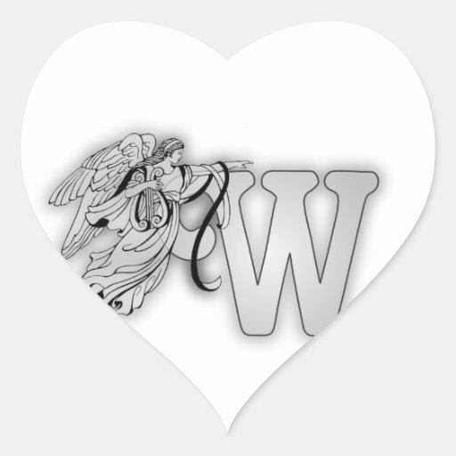 Letter W Angel Monogram Initial Heart Sticker
