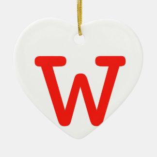 Letter w ceramic heart decoration