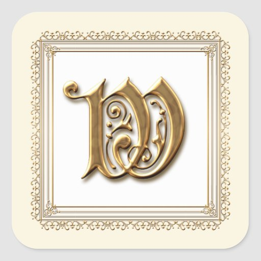 Letter W - Gold & Lace Classic Formal Wedding Seal Square Sticker