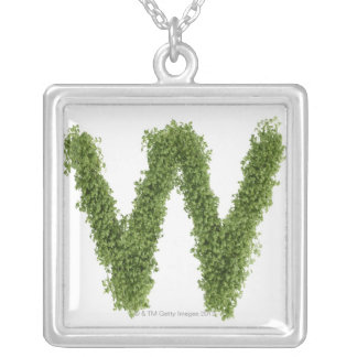 Letter 'W' in cress on white background, Silver Plated Necklace