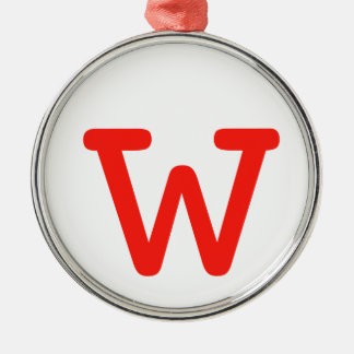 Letter w Silver-Colored round decoration