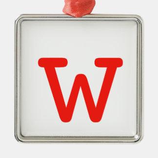 Letter w Silver-Colored square decoration