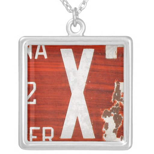 Letter X License Plate Vintage Necklace
