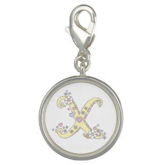 Letter X monogram heart flower yellow art charm