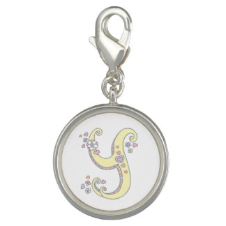 Letter Y monogram heart flower yellow art charm