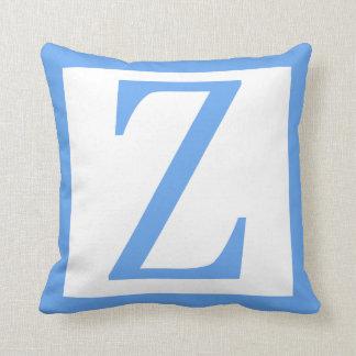 Letter Z Baby Blue Border Throw Pillow
