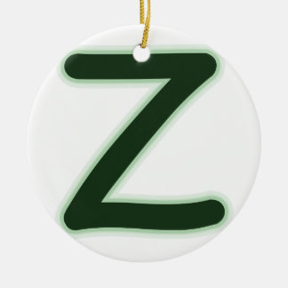 Letter Z forest green glow Ceramic Ornament