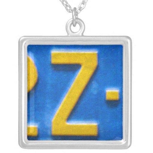 Letter Z License Plate Vintage Necklace