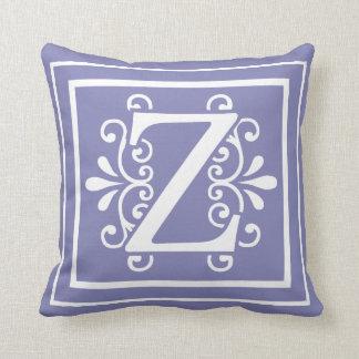 Letter Z Monogram Periwinkle Purple Cushion