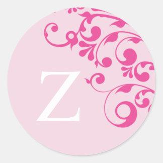 Letter Z Monogram Pink Wedding Envelope Seals Round Sticker