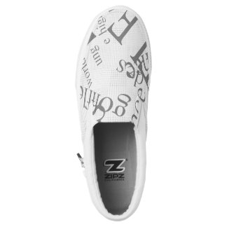 letter zip shoe printed shoes