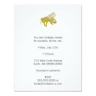 Letterpress Bee 11 Cm X 14 Cm Invitation Card