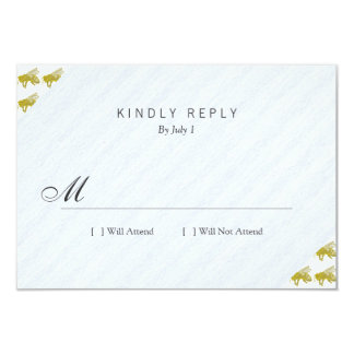 Letterpress Bee 9 Cm X 13 Cm Invitation Card