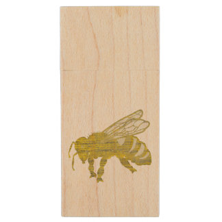 Letterpress Bee Wood USB 2.0 Flash Drive