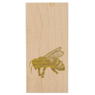 Letterpress Bee Wood USB Flash Drive