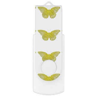 Letterpress Butterfly Swivel USB 2.0 Flash Drive