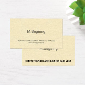 Letterpress Cream Colored Professional Business Card