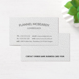 Letterpress Modern Professional White Business Card