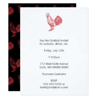 Letterpress Style Red Rooster Card