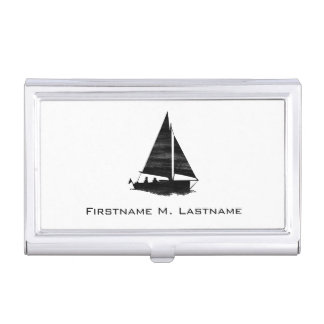 Letterpress Style Sailboat Business Card Holder