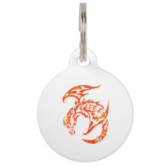 Letterpress Tribal Style Dragon Pet Nametag