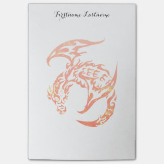 Letterpress Tribal Style Dragon Post-it Notes