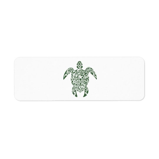 Letterpress Tribal Style Turtle Return Address Label