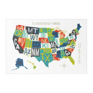 Letterpress USA Map Acrylic Wall Art
