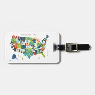 Letterpress USA Map Bag Tag