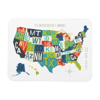 Letterpress USA Map Magnet