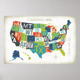 Letterpress USA Map Poster