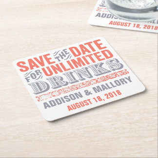 Letterprint Unlimited Drinks Save the Date Coaster