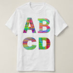 Letters ABCD Rainbow Design Tee Shirts
