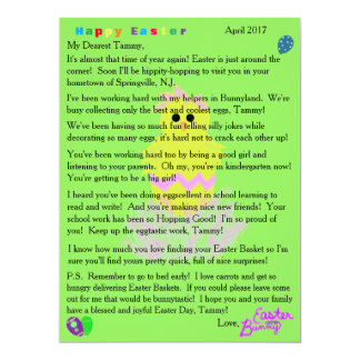 Letters from Easter Bunny Yellow Pink Chick Egg Card