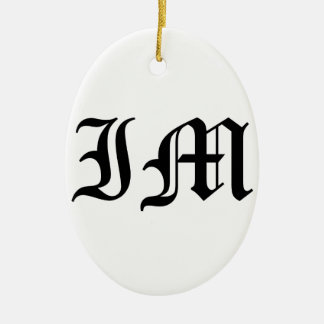 Letters IM Old English Text on White Background Ceramic Oval Decoration