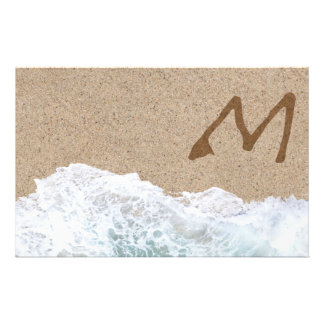 LETTERS IN THE SAND M STATIONERY PAPER