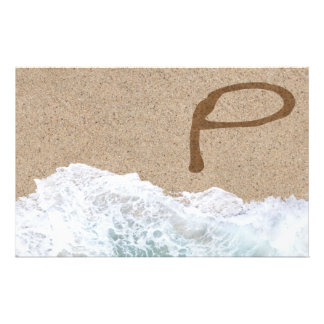 LETTERS IN THE SAND P STATIONERY PAPER