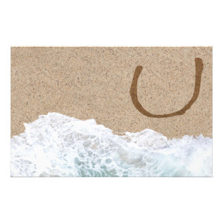 LETTERS IN THE SAND U PERSONALIZED STATIONERY