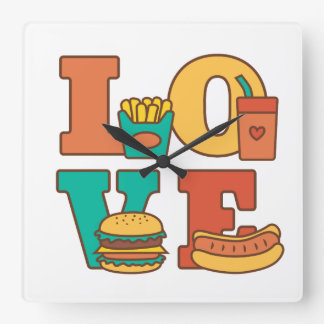 Letters Love Junk Food Room Décor Square Wall Clock