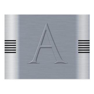 Lettre A aluminium brossé Carte Postale